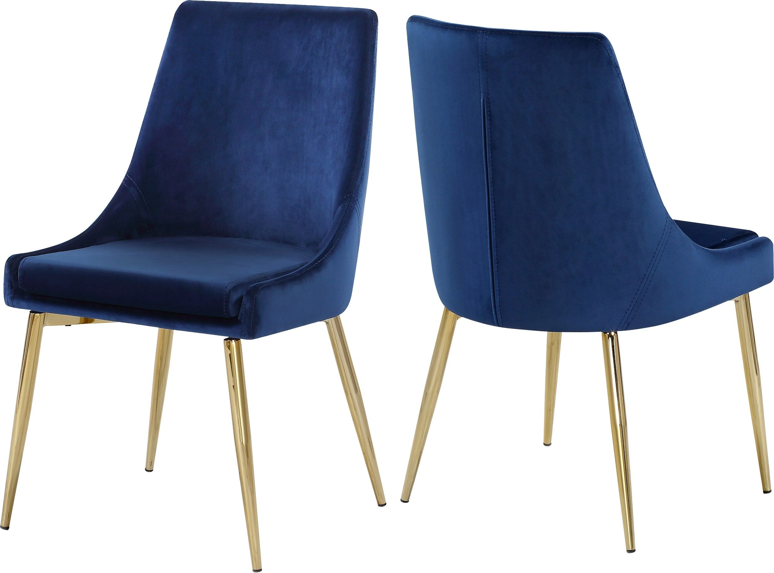 Karina Navy Velvet Dining Chair With Gold Base – Set Of 2 With Ames Arm Sofa Chairs By Nate Berkus And Jeremiah Brent (View 20 of 25)
