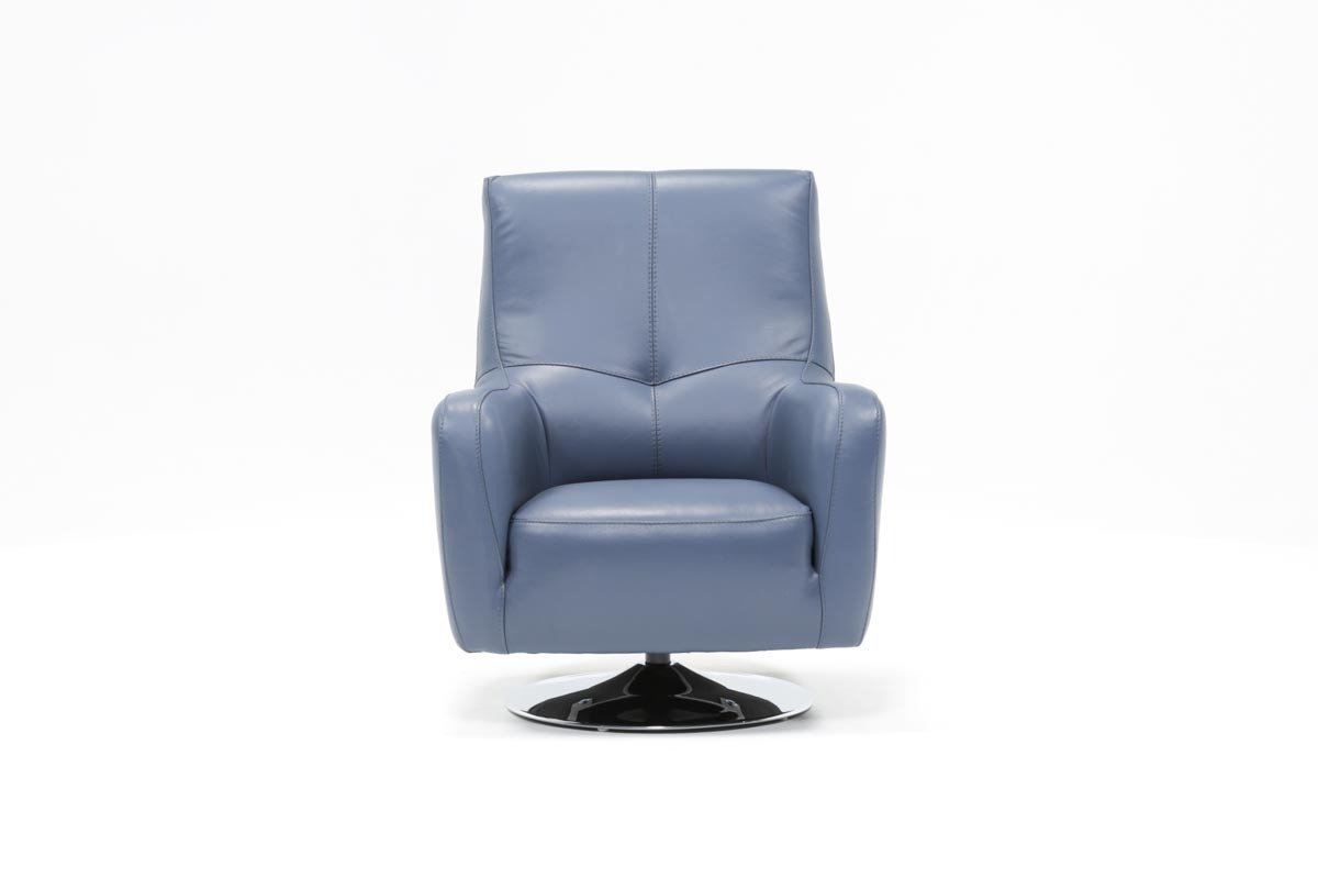 Kawai Leather Swivel Chair | Living Spaces inside Katrina Blue Swivel Glider Chairs