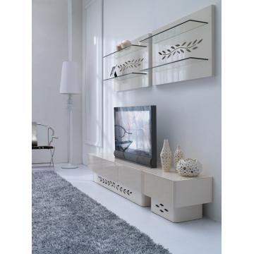 Kd14, China Tempered Glass In Cream Color And Mdf Tv Cabinet In High Pertaining To Best And Newest Cream High Gloss Tv Cabinet (View 9 of 25)
