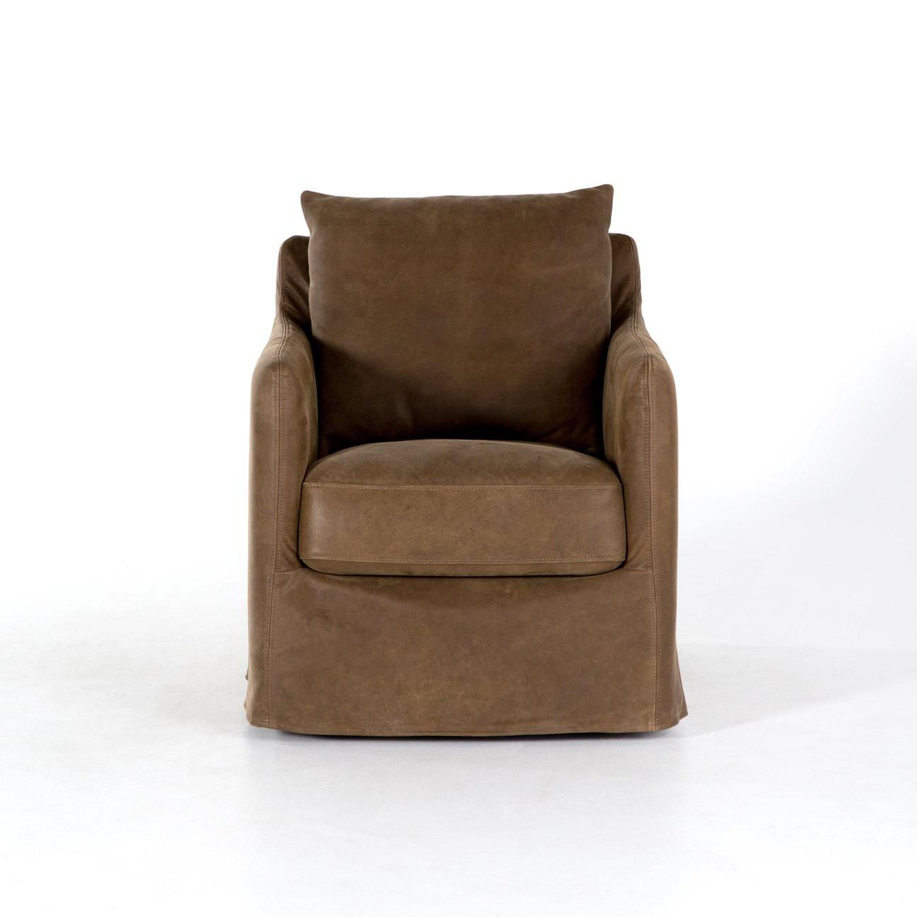 Kensington Collection Banks Top-Grain Leather Swivel Chair: Umber regarding Umber Grey Swivel Accent Chairs