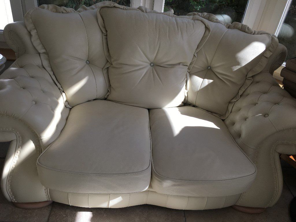Kiara Crystal Italian Leather Sofa (3 And 2 Seater) | In Maidenhead pertaining to Kiara Sofa Chairs