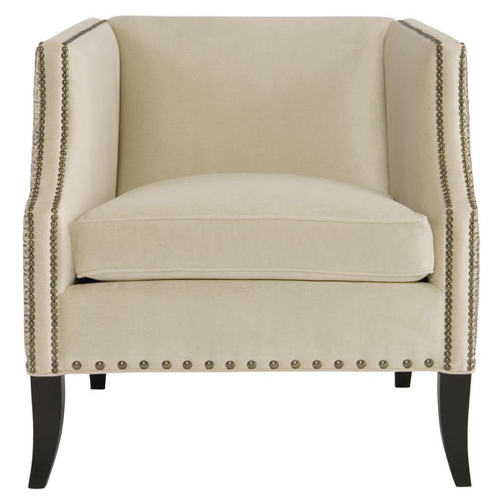 Kiara Hollywood Regency Mocha Wood Antique Nickel Beige Armchair With Kiara Sofa Chairs (Image 12 of 25)