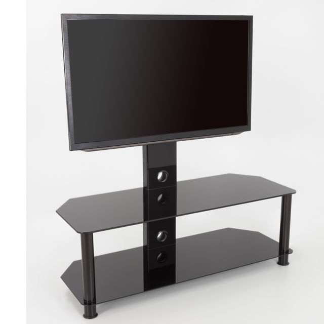 King Upright Cantilever Tv Stand With Bracket Black Glass Shelves For Fashionable Upright Tv Stands (Photo 7354 of 7746)
