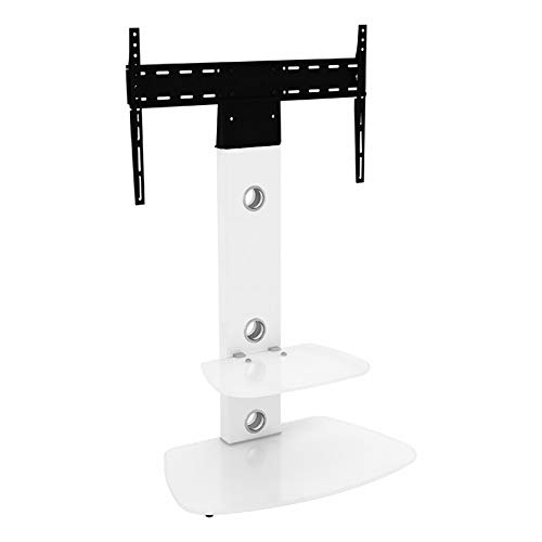 King Upright Cantilever Tv Stand With Bracket Satin White Shelves inside Most Recent White Cantilever Tv Stand