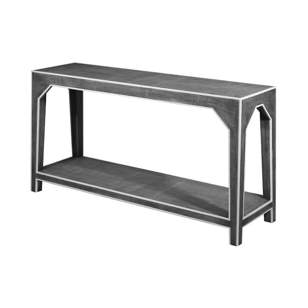 Kip Two Tier Faux Dark Grey Shagreen Console Table With White Resin Intended For Best And Newest Faux Shagreen Console Tables (View 18 of 25)