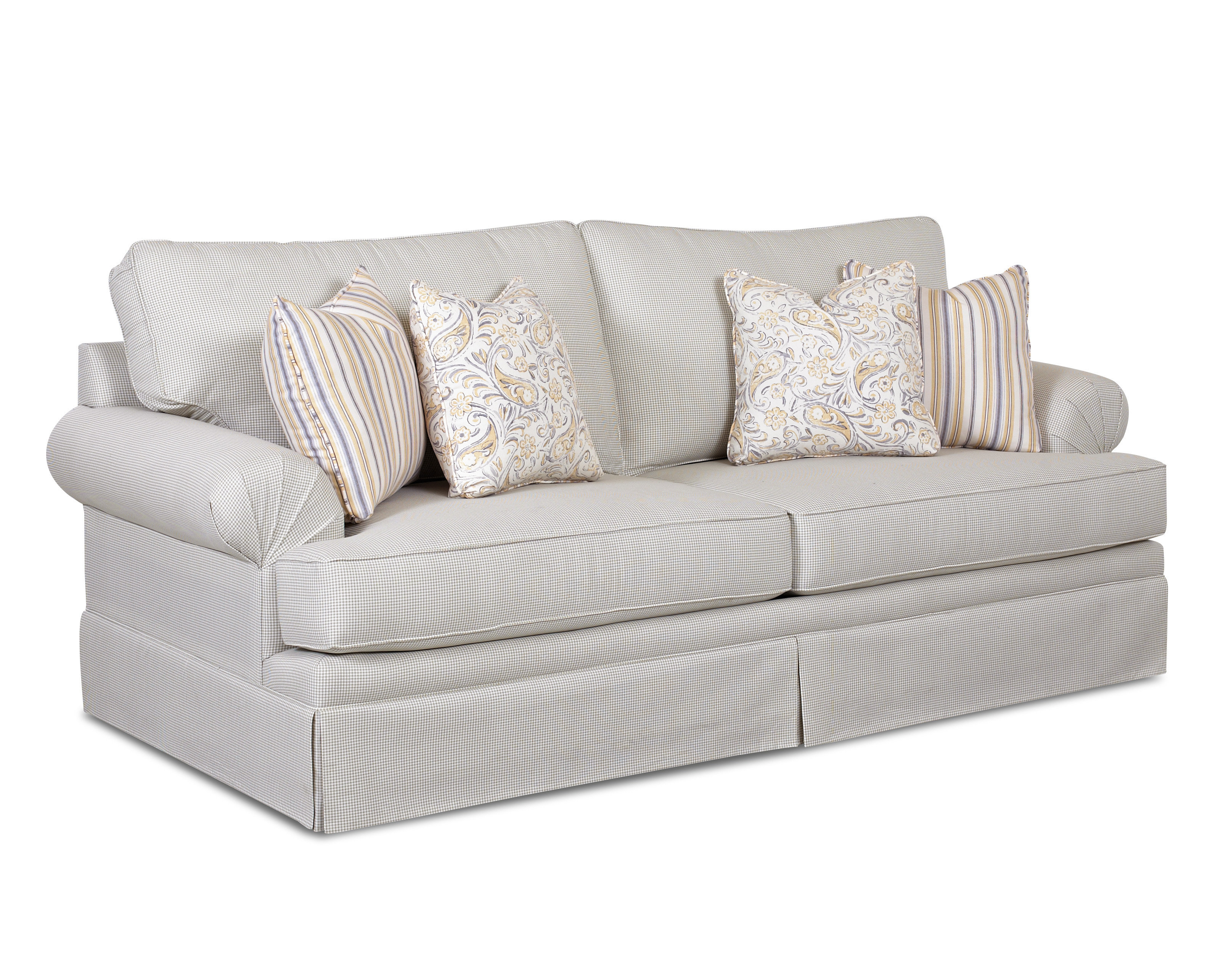 Klaussner Furniture Gale Sofa | Wayfair Intended For Bailey Roll Arm Skirted Swivel Gliders (View 21 of 25)