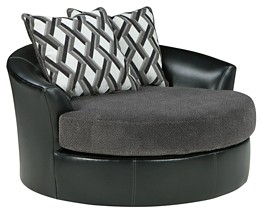 Kumasi – Smoke – Oversized Swivel Accent Chair | 3220221 | Chairs In Loft Black Swivel Accent Chairs (View 20 of 25)