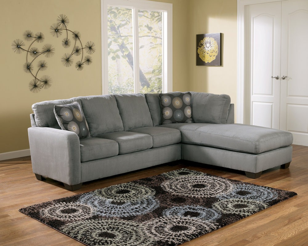 Laf Sectional Mcdade Ash 2 Piece W Chaise Living Spaces – Acwc In Mcdade Graphite Sofa Chairs (Image 11 of 25)