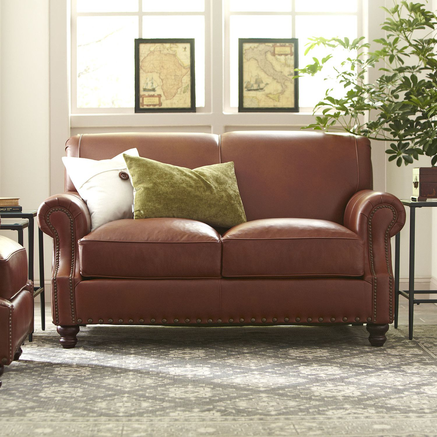 Landry Leather Loveseat |Room | Pinterest | Leather Loveseat Intended For Landry Sofa Chairs (View 19 of 25)