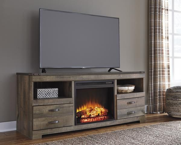 Latest Abbott Driftwood 60 Inch Tv Stands Regarding Trinell Fireplace Tv Stand (Image 12 of 25)