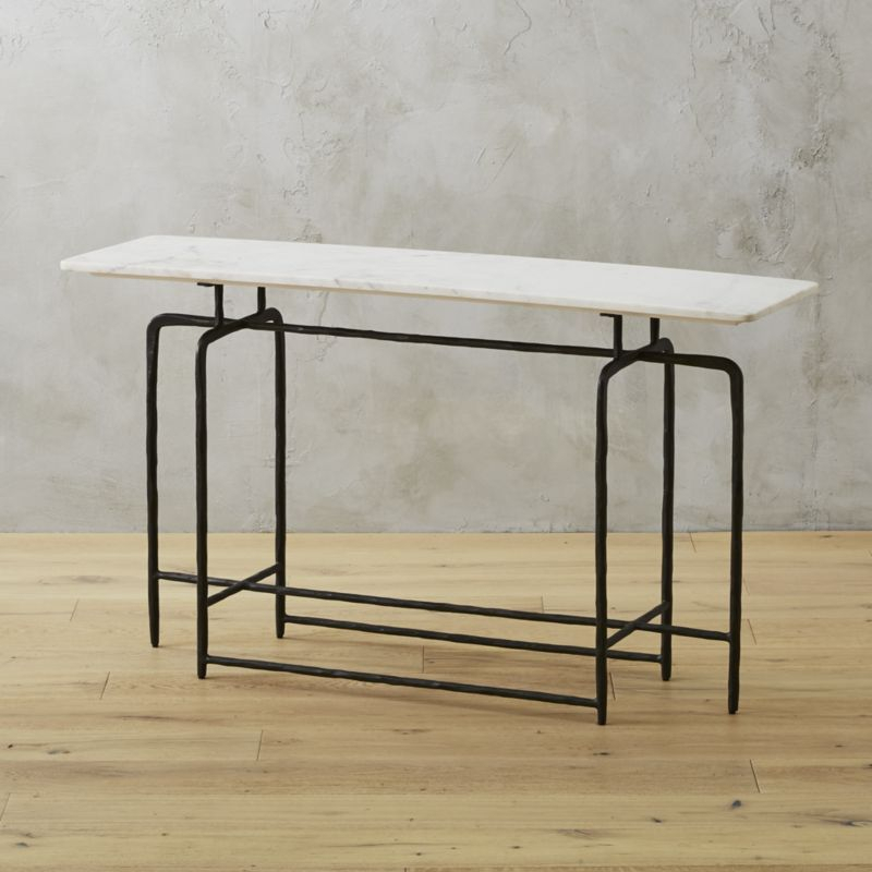 Latest Elke Marble Console Tables With Polished Aluminum Base Pertaining To Shop Sophia Marble Console Table (Image 17 of 25)