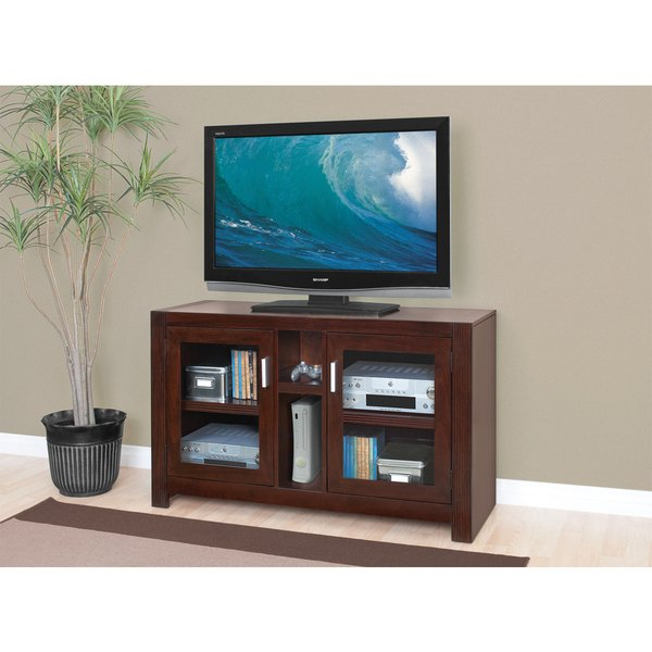 Latest Glass Front Tv Stands For Shop Camus Brown Wood 2 Shelf Mid Sized Tv Stand With Glass Front (View 9 of 25)