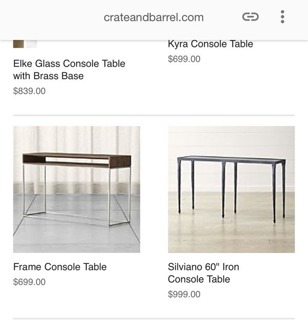 Latest Kyra Console Tables Pertaining To Crate & Barrel 'frame' Console Table For Sale In Scottsdale, Az (Image 18 of 25)