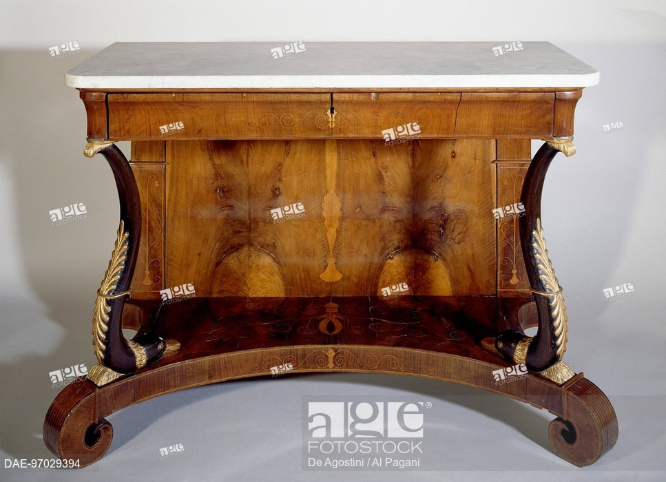Latest Orange Inlay Console Tables In Tuscan Mahogany Console Table With Maple Inlays, Drawer On The Front (Image 11 of 25)