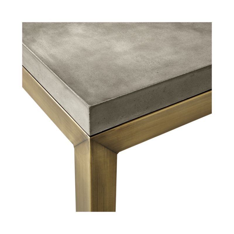 Latest Parsons Clear Glass Top & Brass Base 48X16 Console Tables Inside Parsons Concrete Top/ Brass Base 60X36 Large Rectangular Coffee (View 17 of 25)