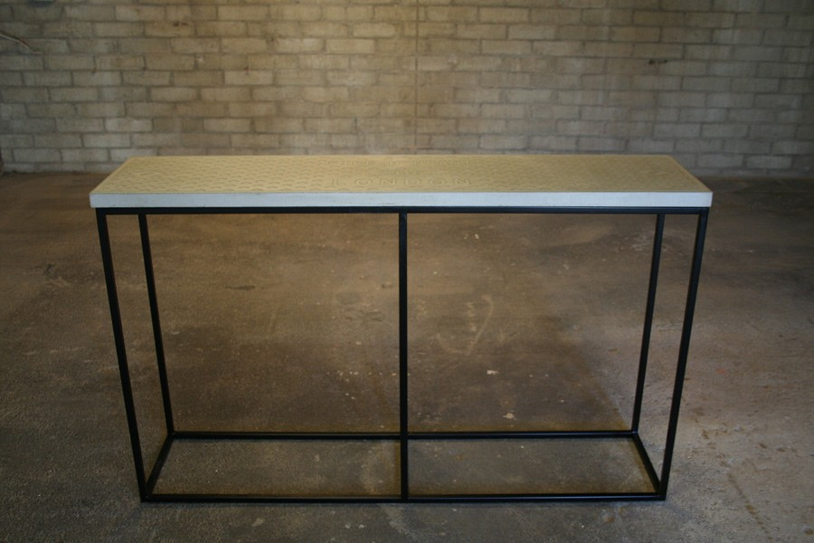 Latest Parsons Concrete Top & Brass Base 48X16 Console Tables Pertaining To Concrete Top Console Table Awe Inspiring Parsons Dark Steel Base (Image 14 of 25)