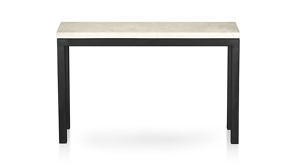 Latest Parsons Walnut Top & Dark Steel Base 48X16 Console Tables Throughout Marble Top Console Table – Betinfon (Image 10 of 25)