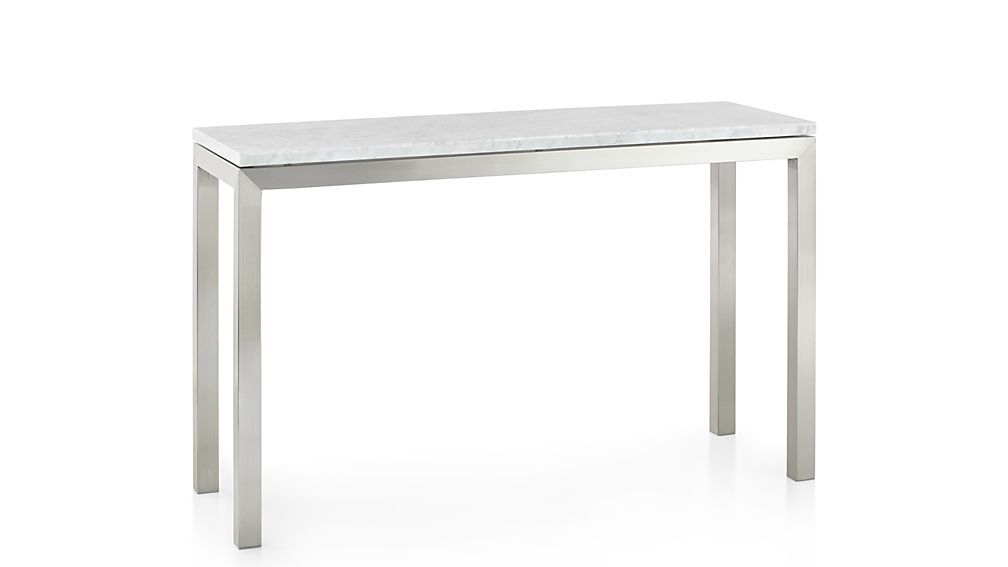Latest Parsons White Marble Top & Dark Steel Base 48X16 Console Tables With Parsons White Marble Top/ Stainless Steel Base 48X16 Console (View 10 of 25)