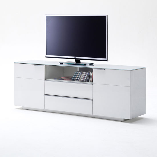 Latest Sideboard Tv Stands Regarding Canberra Sideboard Tv Stand In White Glass Top And High (View 11 of 25)