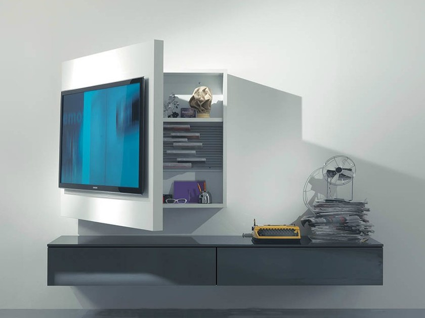 Latest Wall Mounted Tv Racks With Regard To Lacquered Adjustable Wall Mounted Tv Cabinet Rack 3Fimar (View 20 of 25)