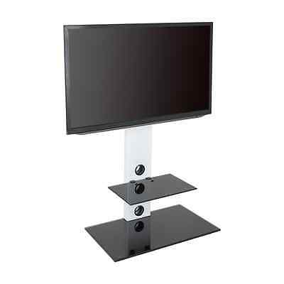 Latest White Cantilever Tv Stand Intended For Satin White Cantilever Tv Stand With Lcd Led Tv Wall Bracket For (View 17 of 25)