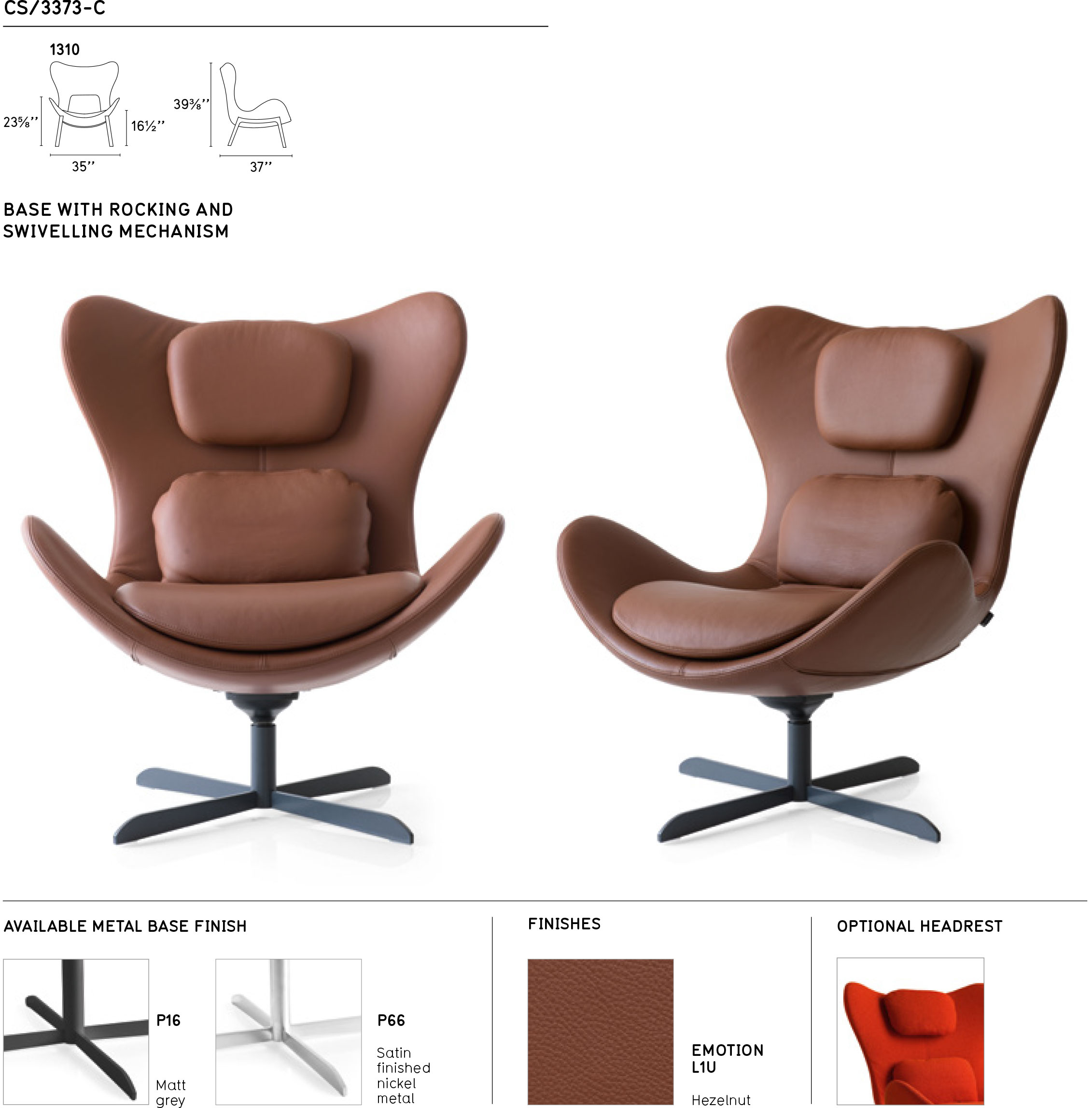 Lazy Cs/3373 C 1310 Swinging Swivel Chaircalligaris, Italy Inside Chill Swivel Chairs With Metal Base (Image 24 of 25)