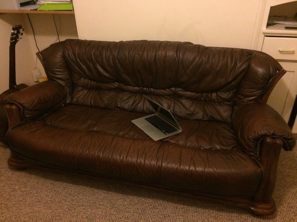 Leather Sofa: 3 Seater, 2 Arm Chairs And Foot Stool (View 10 of 25)