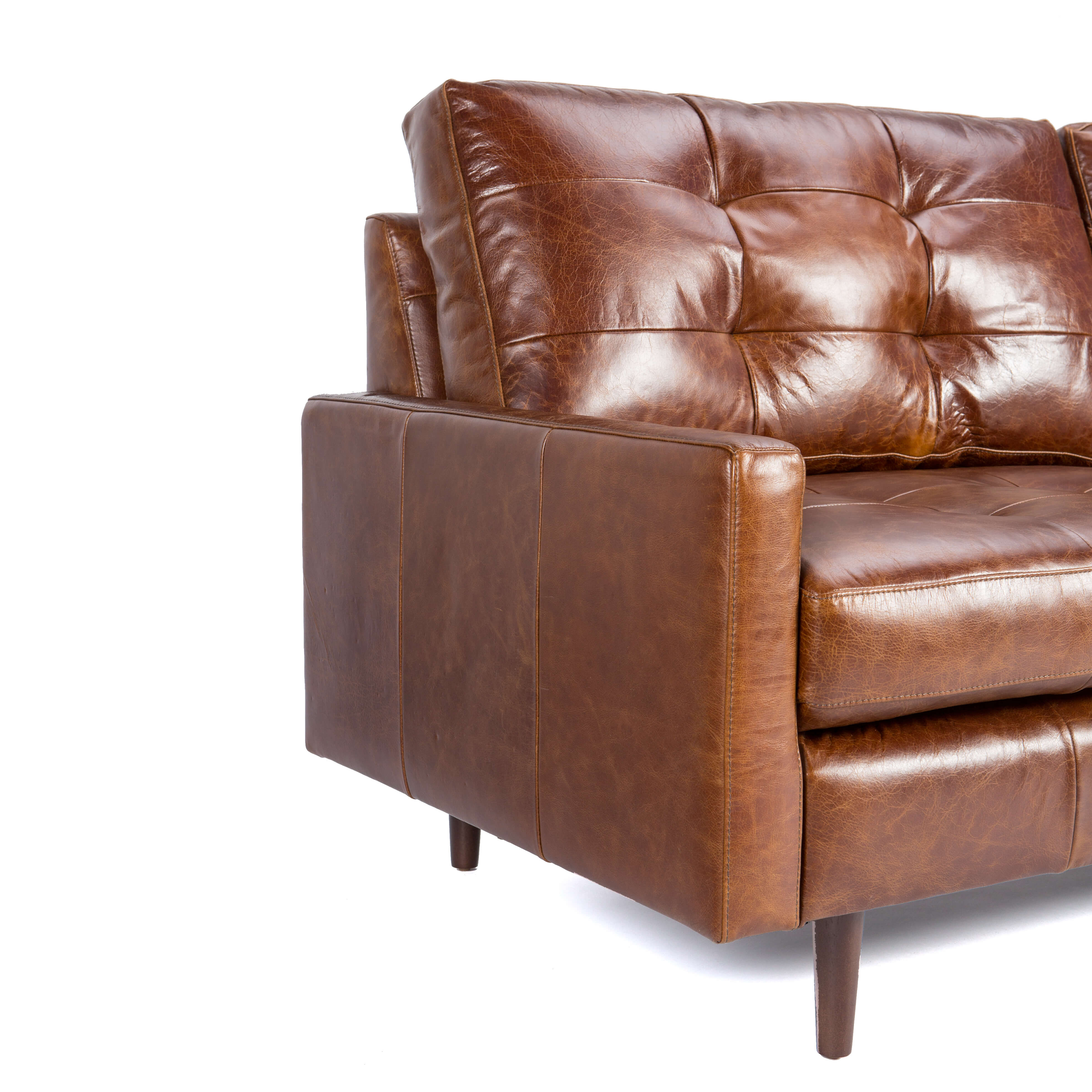 Leather Sofa With Tufted Back Cushion – Andrew – Zillo + Hutch Inside Andrew Leather Sofa Chairs (Image 21 of 25)