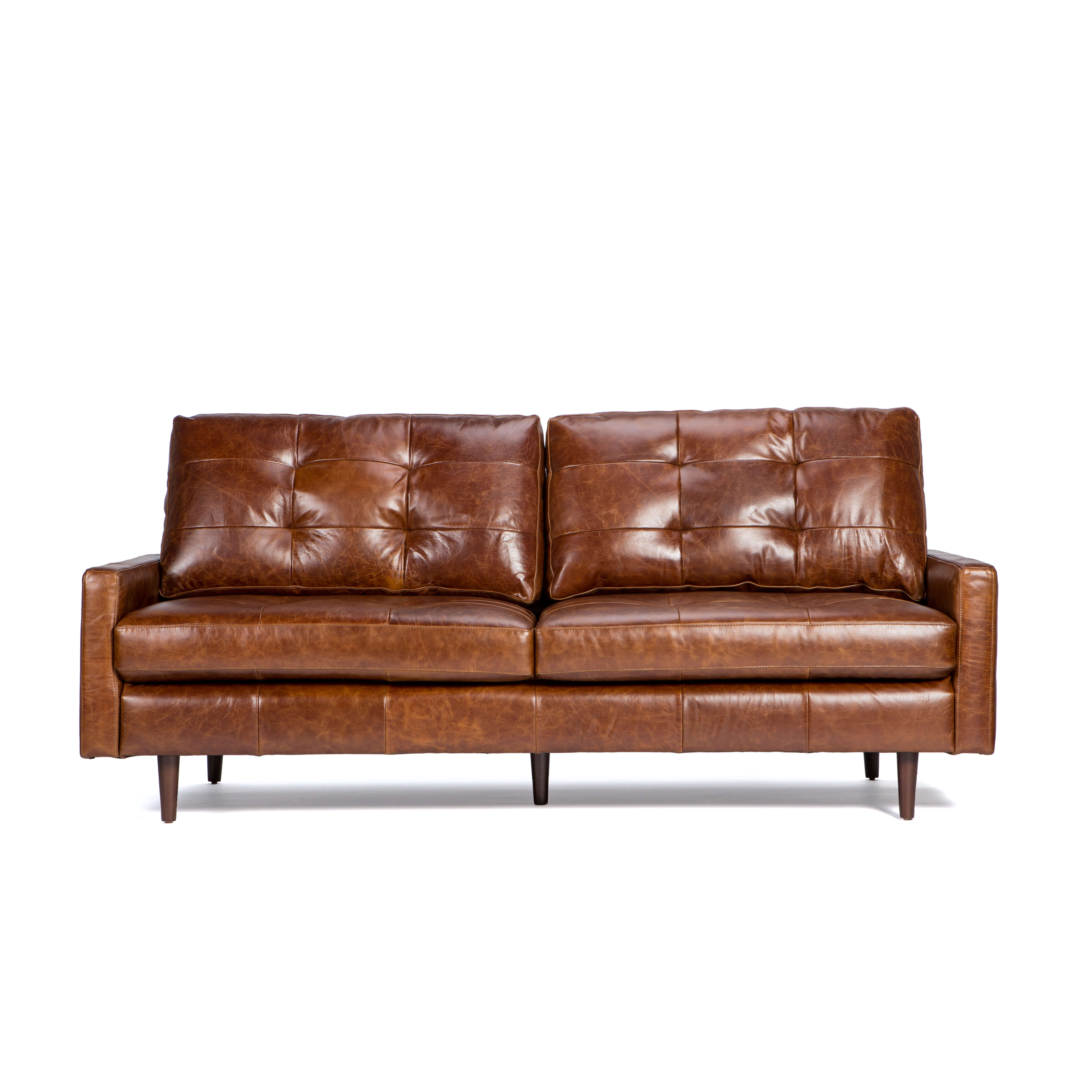 Leather Sofa With Tufted Back Cushion – Andrew – Zillo + Hutch Inside Andrew Leather Sofa Chairs (Image 20 of 25)