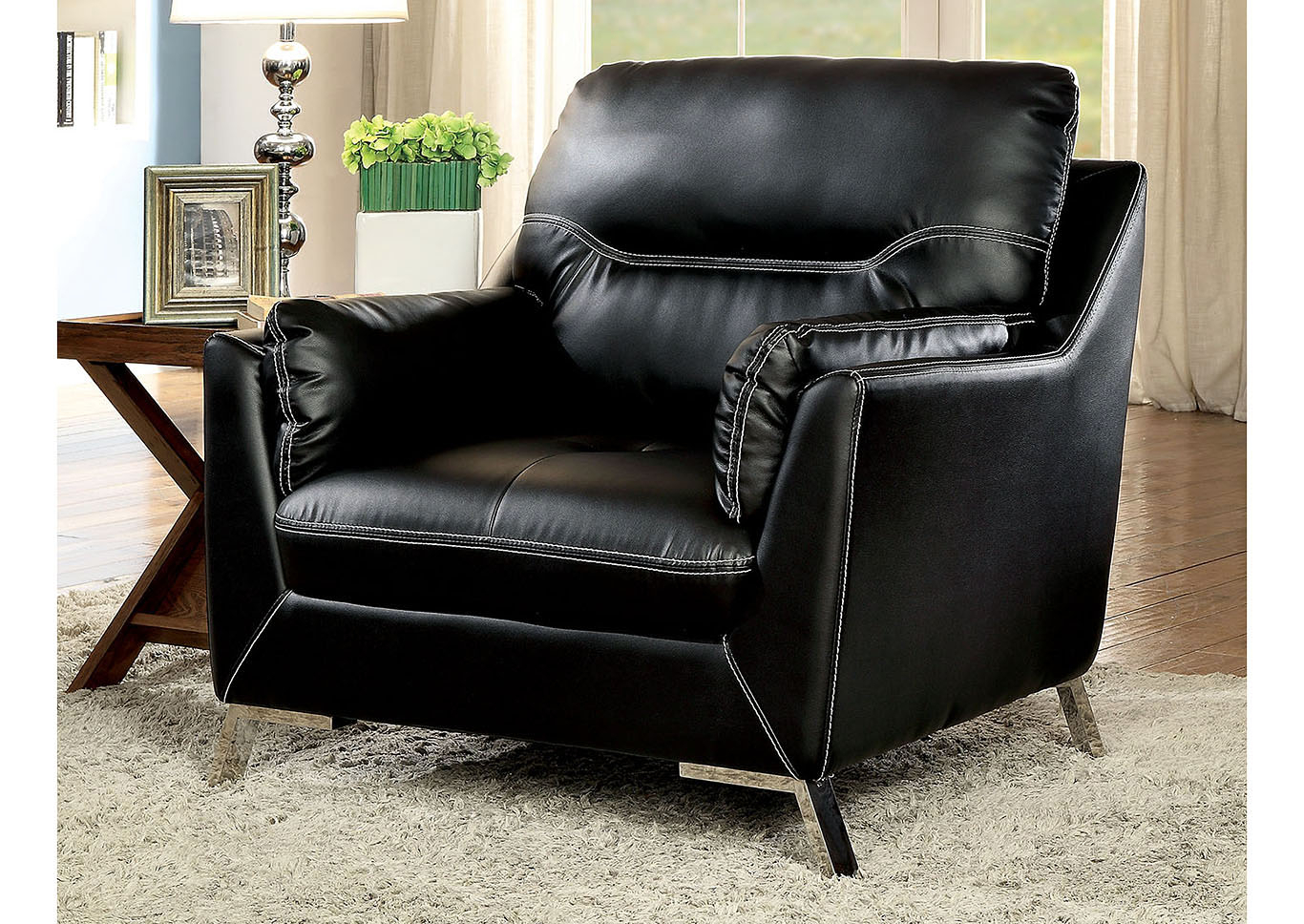Lion Furniture Center Nichola Black Chair Regarding Nichol Swivel Accent Chairs (Image 10 of 25)