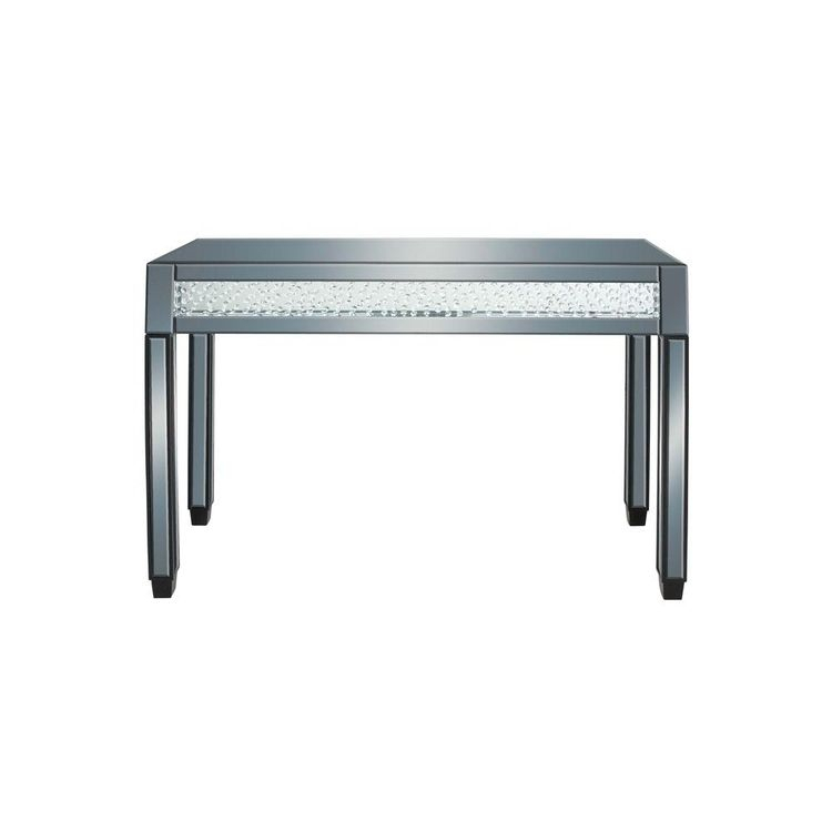 Litton Lane Clear Reflective Glass And Mirror Console Table Inside Popular Parsons Black Marble Top & Dark Steel Base 48X16 Console Tables (Image 14 of 25)