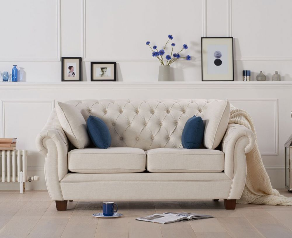 Liv Chesterfield Ivory Fabric Two Seater Sofa | Gorgeous Home Intended For Liv Arm Sofa Chairs (View 25 of 25)