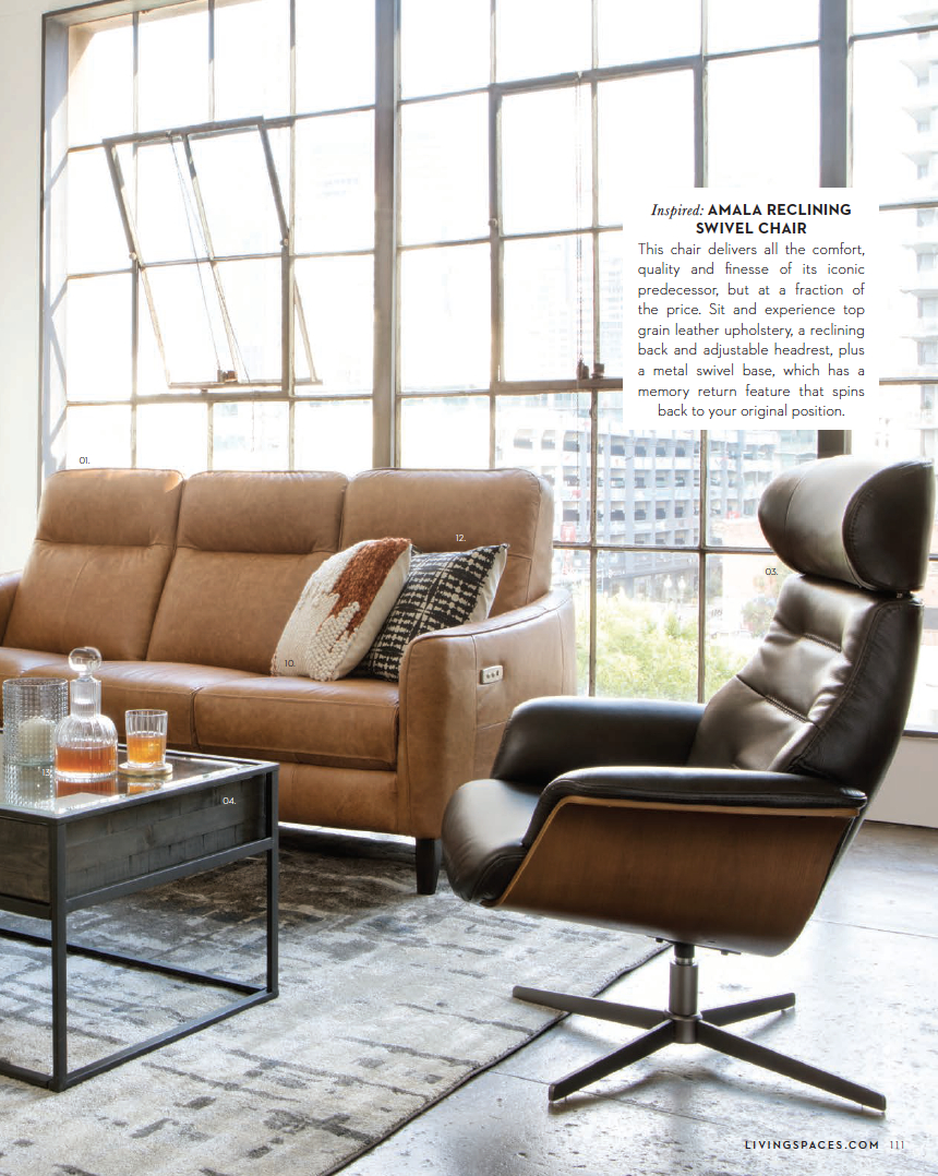 Living Spaces Catalog: Spring 2018 — Hudson Loft Within Amala Dark Grey Leather Reclining Swivel Chairs (Image 17 of 25)