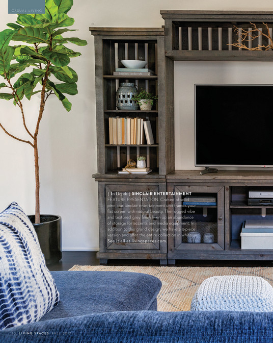 Living Spaces – Fall 2017 – Sinclair Grey 4 Piece Entertainment Center Inside Current Sinclair Grey 68 Inch Tv Stands (View 9 of 25)