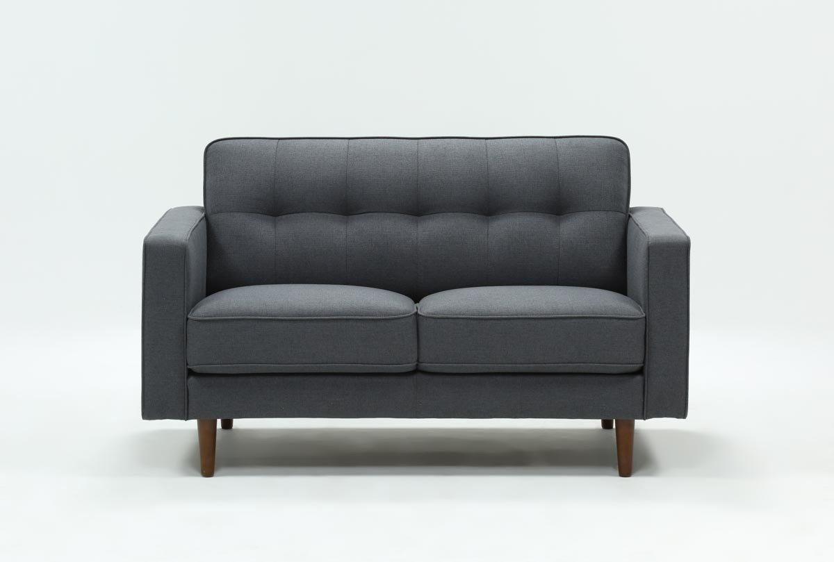 London Dark Grey Loveseat | Living Spaces For Caressa Leather Dark Grey Sofa Chairs (Image 23 of 25)