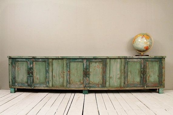 Long And Low Reclaimed Antique Sideboard Media Console Tv Stand Low in Most Up-to-Date Walters Media Console Tables