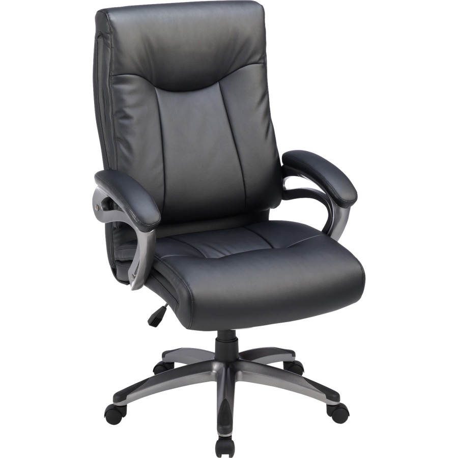 Lorell High Back Executive Chair, Padded Arms, Gun Metal Frame in Chadwick Gunmetal Swivel Chairs