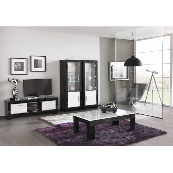 Lorenz Medium Tv Stand In Black And White High Gloss With 2 Throughout Latest Dixon White 58 Inch Tv Stands (Image 10 of 25)