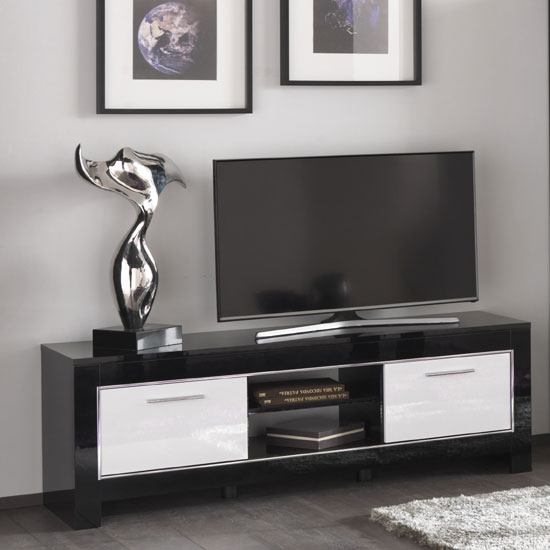 Lorenz Medium Tv Stand In Black And White High Gloss With 2 With Regard To Most Popular Dixon White 58 Inch Tv Stands (View 1 of 25)
