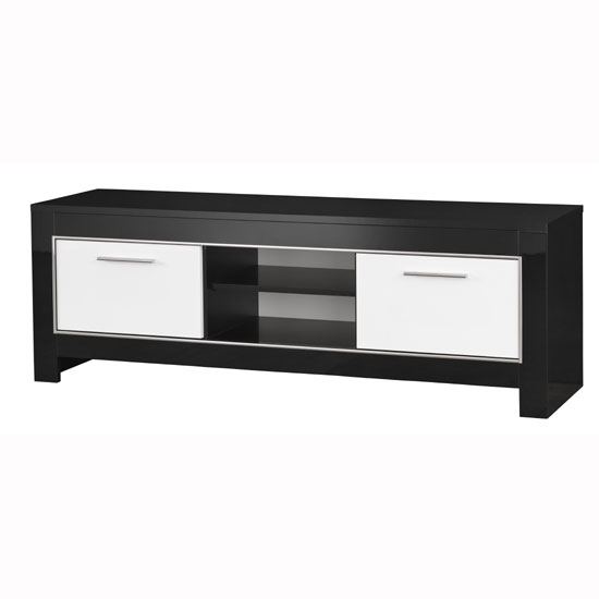 Lorenz Medium Tv Stand In Black And White High Gloss With 2 Within Most Recent Dixon White 58 Inch Tv Stands (Image 12 of 25)