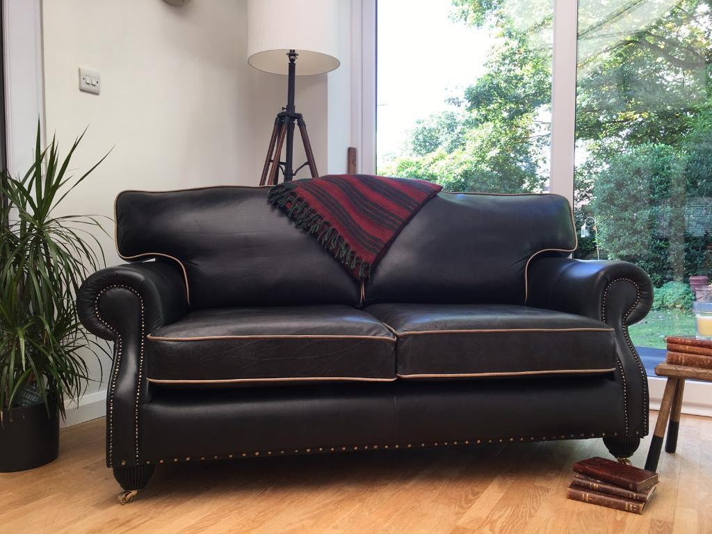 Lovely Chesterfield Club Style Sofa/settee Graphite Grey Leather In Mansfield Graphite Velvet Sofa Chairs (View 5 of 25)