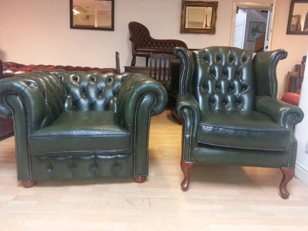 Lovely Green Leather Chesterfield Club Chair And High Bage Quinn Intended For Quinn Teak Sofa Chairs (View 18 of 25)
