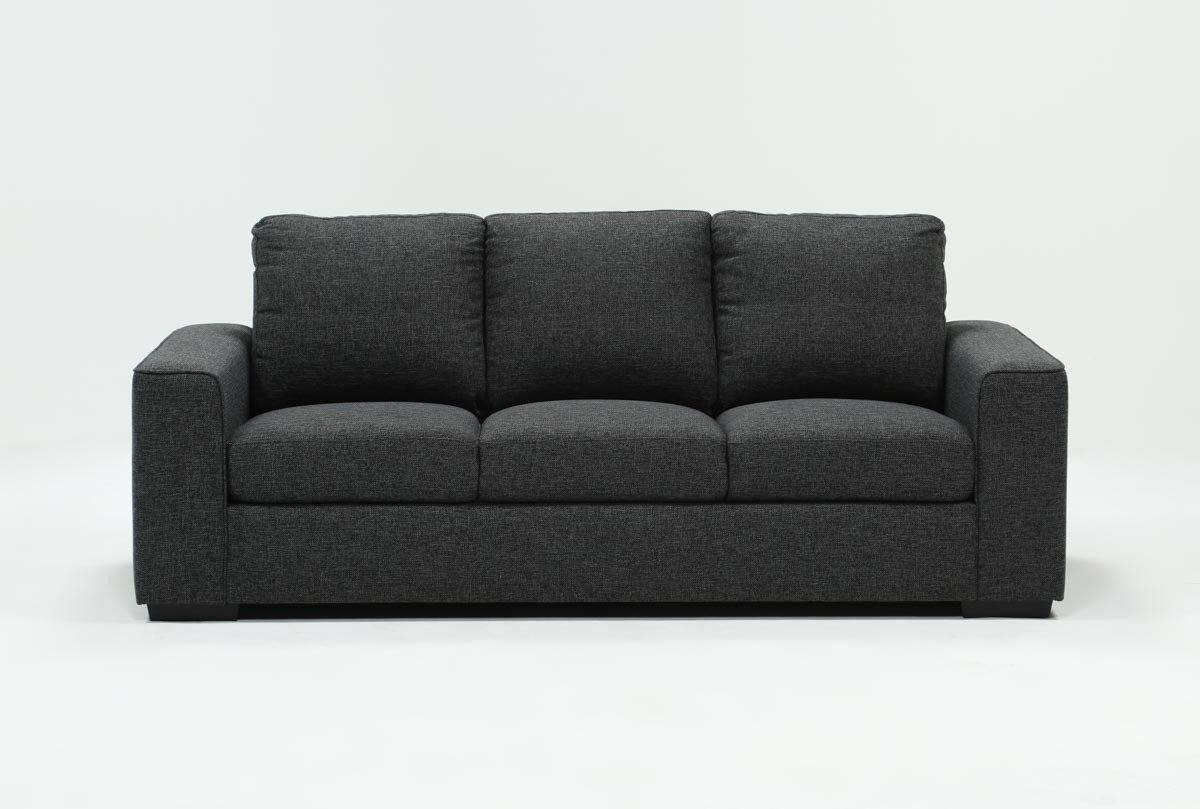 Lucy Dark Grey Sofa | Living Spaces Regarding Lucy Grey Sofa Chairs (Image 8 of 25)