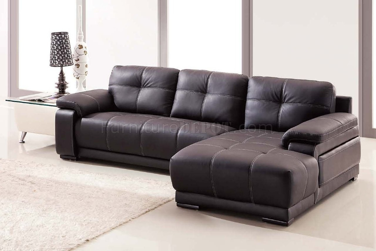 Lucy Sectional Sofa In Dark Brown Bonded Leather Throughout Lucy Dark Grey Sofa Chairs (View 4 of 25)