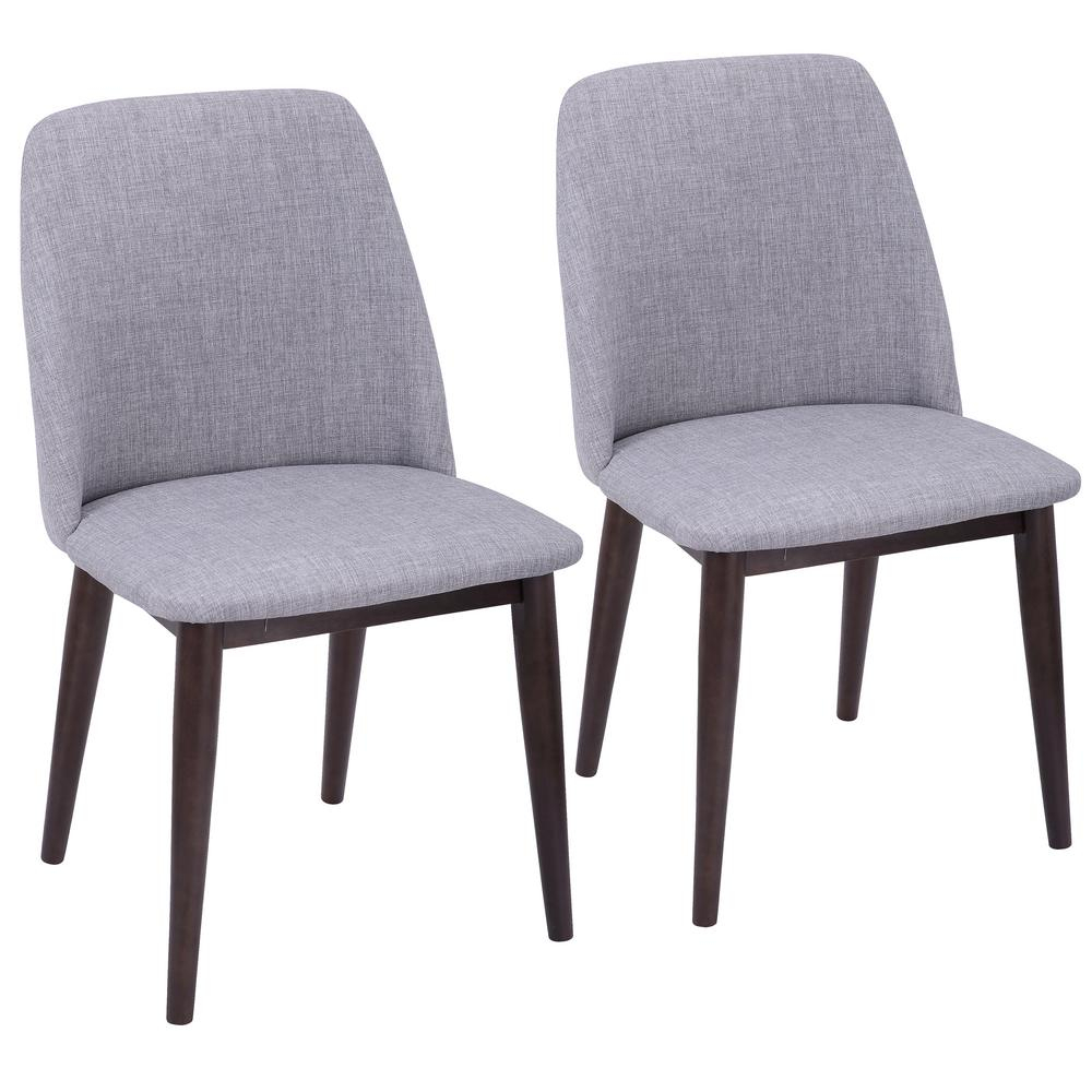 Lumisource Tintori Light Grey Fabric Dining/accent Chair With Walnut With Regard To Umber Grey Swivel Accent Chairs (View 21 of 25)