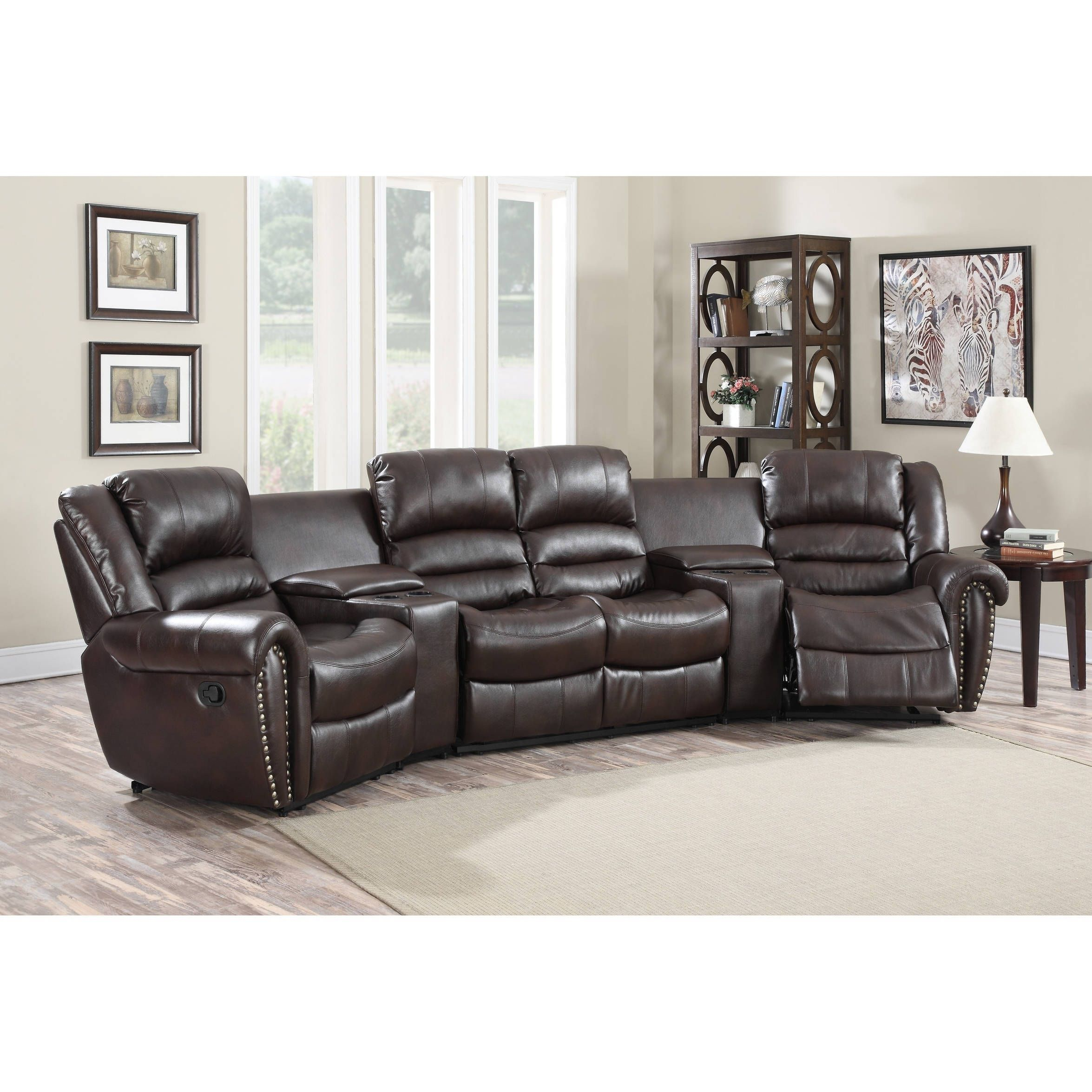 Lyke Home Abigail Burgundy (Red) Leather Gel Movie Theater Recliner Inside Abigail Ii Sofa Chairs (View 13 of 25)