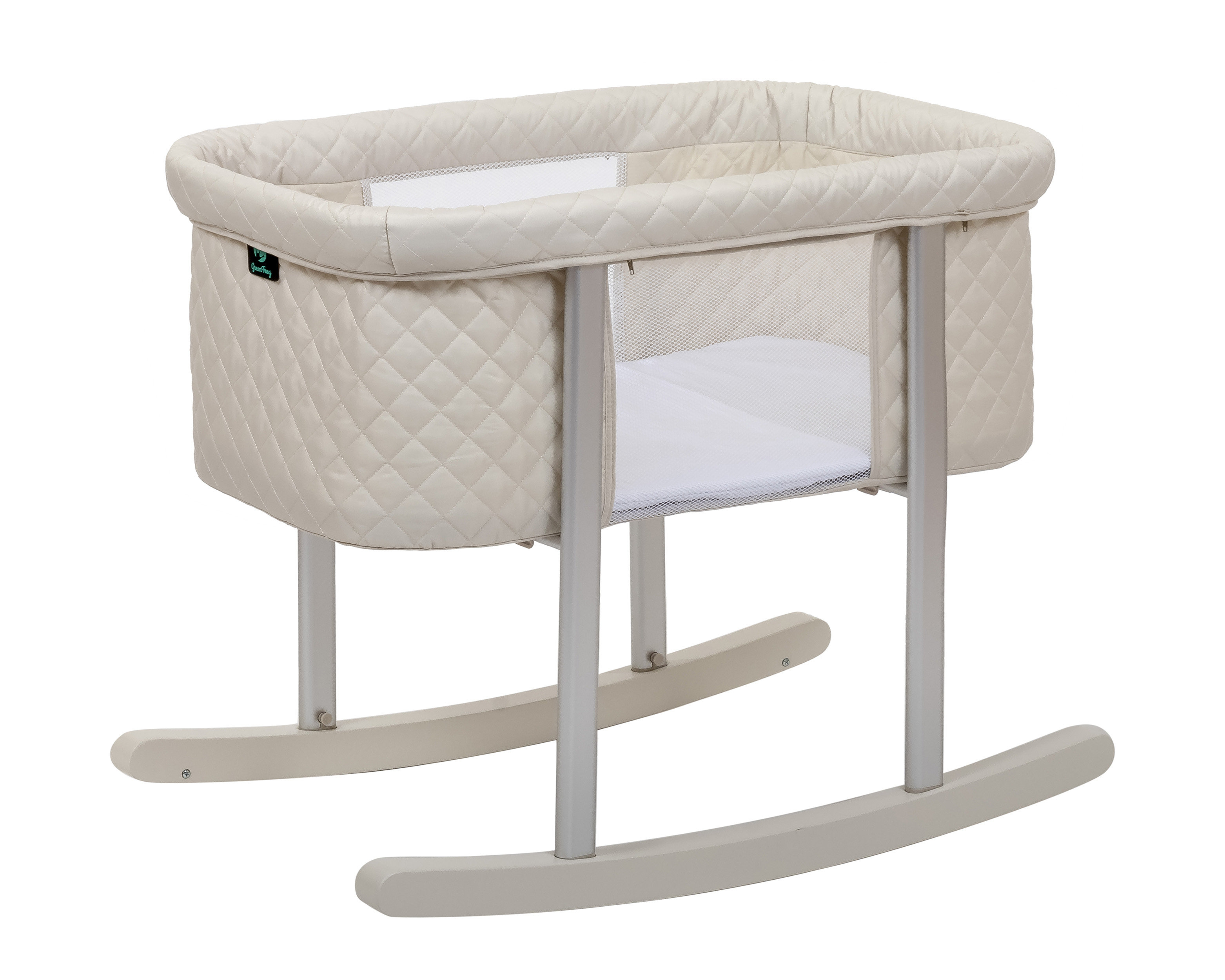 Mack & Milo Gaetan Diamond Baby Bassinet | Wayfair Pertaining To Bailey Mist Track Arm Skirted Swivel Gliders (View 14 of 25)