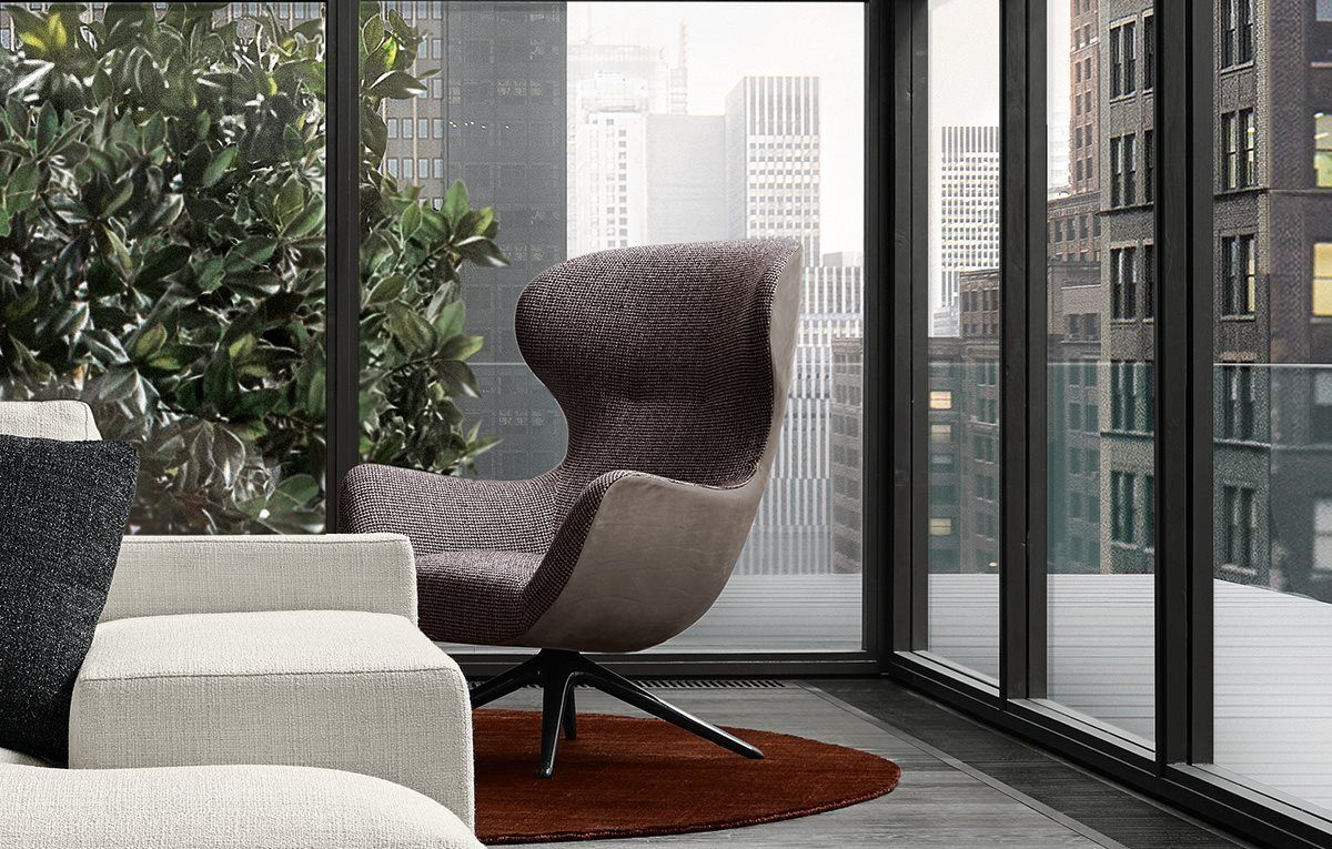 Mad Joker Armchair With Outer Body In Leather Nabuk 2 Tortora And Within Nichol Swivel Accent Chairs (Image 12 of 25)