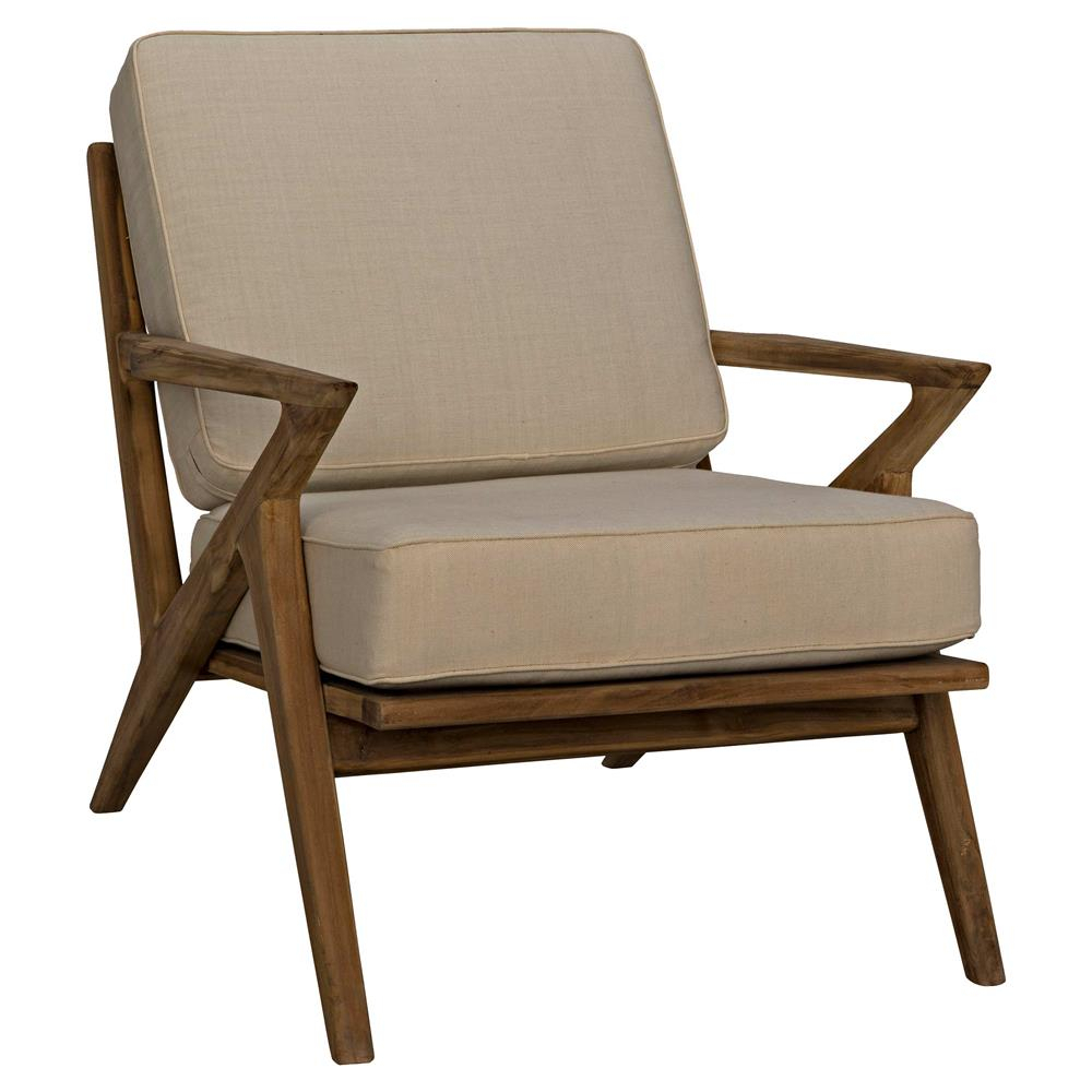 Maddox Mid Century Modern Beige Canvas Brown Teak Living Room Chair With Maddox Oversized Sofa Chairs (Image 11 of 25)