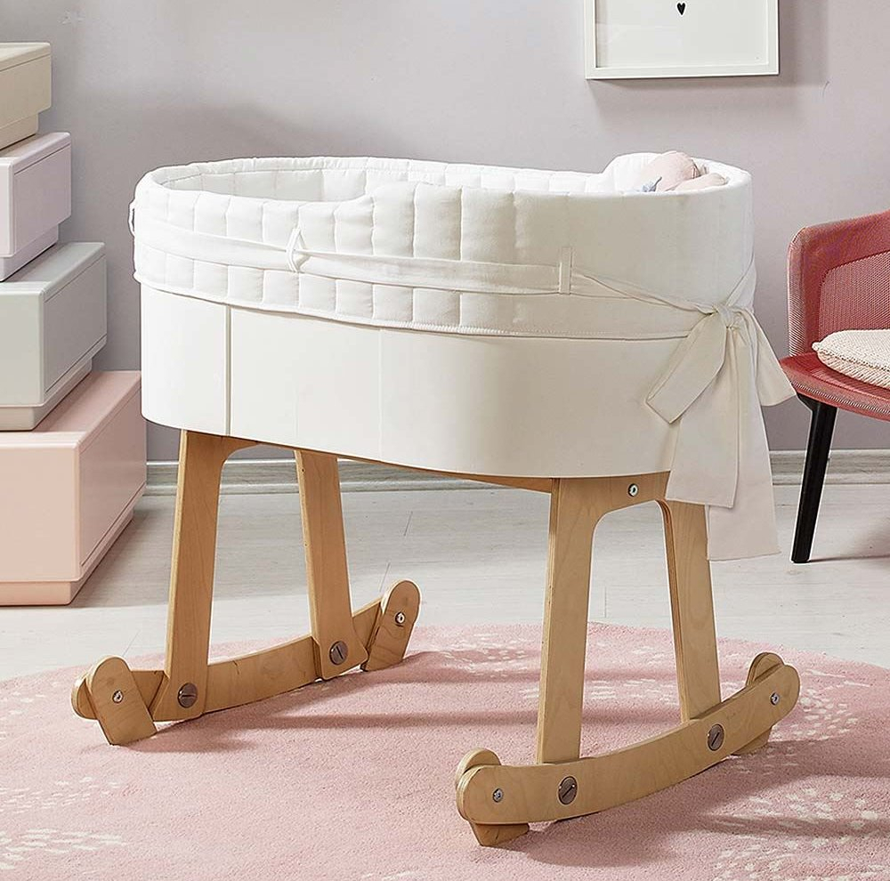 Magic Cabin Birch Wood Rocking Cradle For Infants | Wayfair With Bailey Mist Track Arm Skirted Swivel Gliders (View 23 of 25)